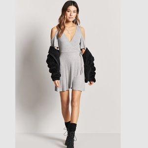$8💋New Sexy Heather Grey Ribbed Mock Wrap Dress